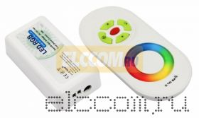 Беспроводной RGB контроллер 2.4G с пультом ДУ с полусенсорным управлением; 12-24V, 18А