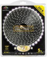 Светодиодная лента влагозащищенная 220В, 60 SMD5050/метр, цвет тепло-белый, блистер 5 метров Neon-Night