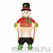 """3D фигура надувная """"Снеговик на лыжах"""", размер 180 см, внутренняя подсветка 2 лампы, компрессор с адаптером 12В, IP 44 NEON-NIGHT"""