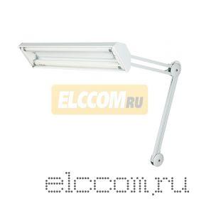 Настольная люминесцентная лампа на струбцине 2х15W, с электронным стабилизатором, белая REXANT